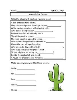 Around One Cactus Rhyming Activity