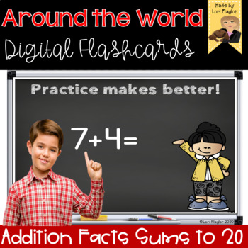 Around the World- Digital Edition Addition Facts Sums to 20