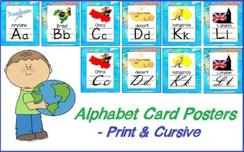 Around the World or Travel Theme  Alphabet Posters