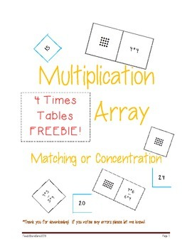 Array Fact and Product Matching Master Multiplication Fact