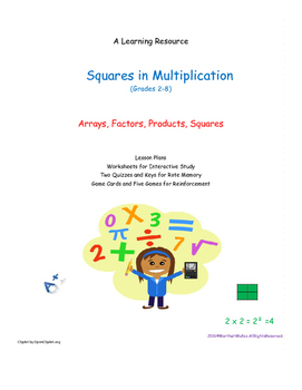 Arrays and Exponents in Squares of Multiplication Facts 2-12