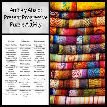 Arriba y Abajo Activity to Practice Present Progressive an