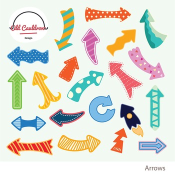 Arrows clipart, colorful arrows clipart, vector graphics CL023