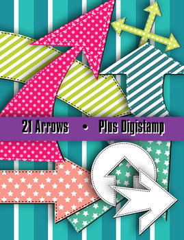 """Arrows in Stitches • 21 Shapes • 8 – 10"""" Wide • Clip Art D"""