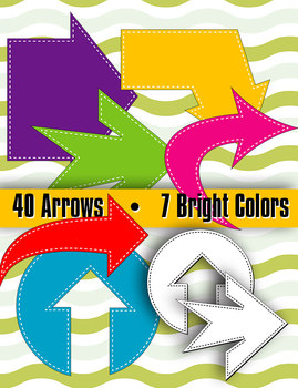 """Arrows in Stitches 7 Bright Colors • 40 Shapes • 8 - 10"""" •"""