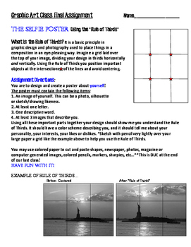 """Art Lesson Printable Assignment: """"Selfie Poster"""""""