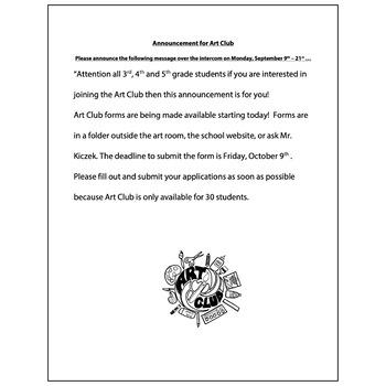 Art Club Announcement PA, Online - Visual Arts Club Elemen