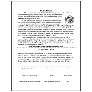 Art Club Student Contract - Visual Arts Club Elementary Ar