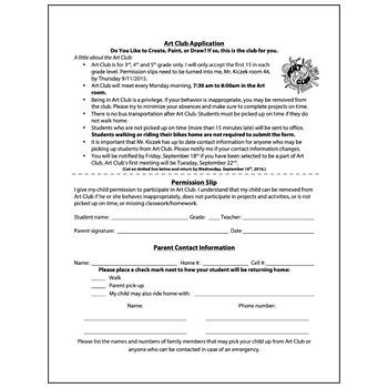 Art Club Information Sheet Application - Visual Arts Club
