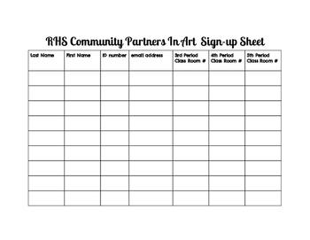 Art Club-sign up sheet