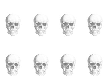 Art Creativity Exercise Skulls (Hallowe'en) Worksheet for Drawing