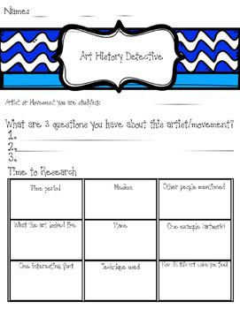 Art History Detective Worksheet