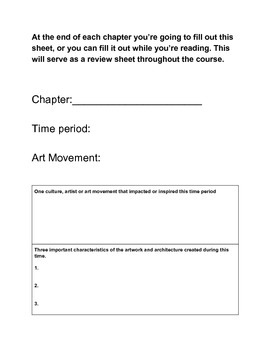 Art History Graphic Organizer for taking notes