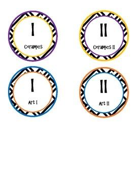 Art I-II and Ceramics I-II Printable Circle Labels, Comple
