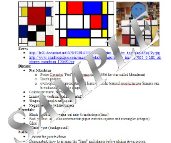 Art Lesson - 1st/2nd Grade PIET MONDRIAN Squares and Rectangles