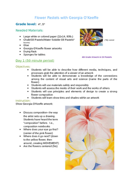 Art Lesson- Flower Oil Pastels with Georgia O'Keeffe