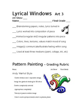Art Lesson Papers based on Rhythm & Pattern (2 different p