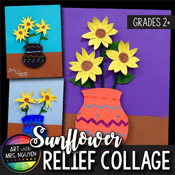 Art Lesson: Van Gogh inspired Sunflower Still Life Relief Collage