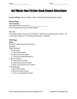 Art / Music Non Fiction Book Report Directions for grades