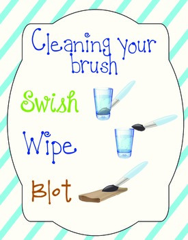 Art Poster for Cleaning Brush and Changing Paint Colors