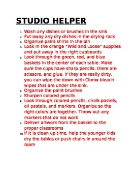 Art Room Helper Job List