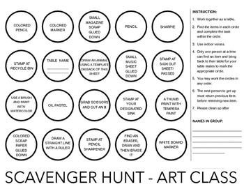 Art Room Scavenger Hunt