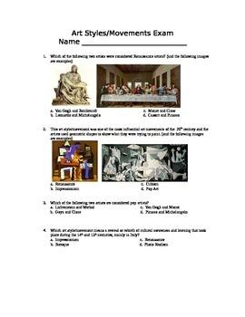 Art Styles Final Exam and Key--Companion to Art Styles Pow