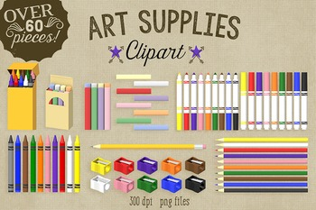 Art Supplies Clipart, Markers, Chalk, Crayons, Pencil Sharpeners