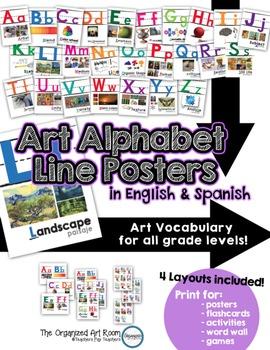 Art Vocabulary Alphabet Line Posters... English & Spanish