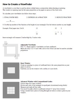 Art Worksheet. How to create a viewfinder. Proportion prac