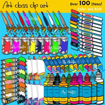 Art class clip art -Color and B&W- over 100 items!