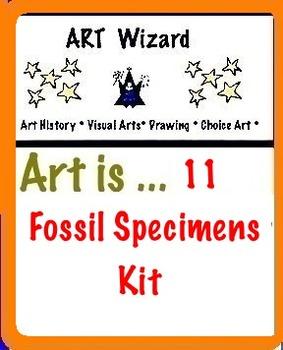 Art Rocks ... 11 Fossil Specimens Kit (1 Magnifying Glass) STEAM