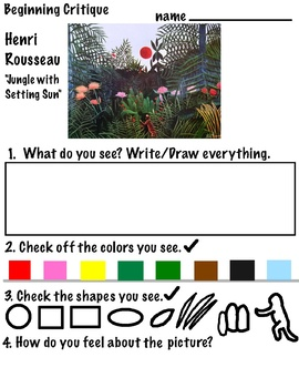 ART Critique is ...(Intro K-2, ELL)  with Eric Carle's, M.