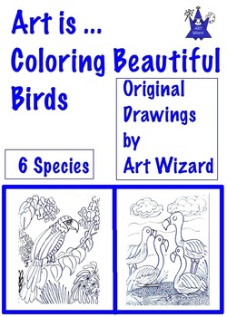 Art Science ... 6 Beautiful Bird Species Coloring Pages  (
