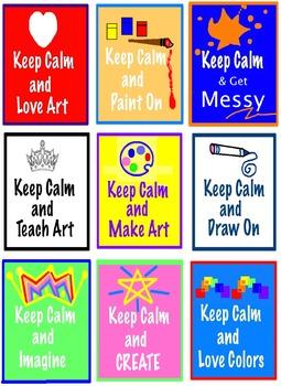 Art Posters ... Keep Calm & Teach Art! 9 Different Art Ver