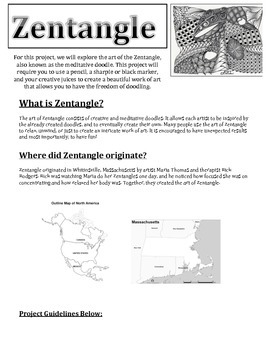 Art of Zentangle Project / Worksheet / Sub Plans