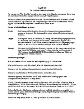 Arthur Miller's The Crucible--Essay Test Prompts