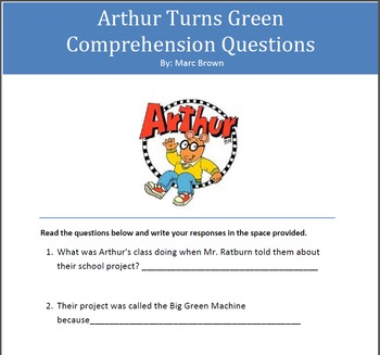 Arthur Turns Green Comprehension Questions