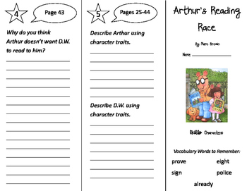Arthur's Reading Race Trifold - Storytown 2nd Grade Unit 1 Week 1