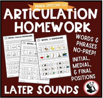 Artic Homework Later Sounds Bundle! l, lblends, s, sblends