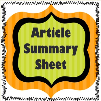 Nonfiction Article Summary Worksheet (UPDATED)