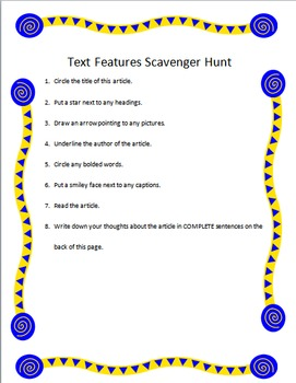 Article Text Features Scavenger Hunt
