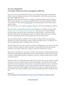 Article on a shopaholic testimony for English learners
