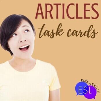Articles: grammar task cards
