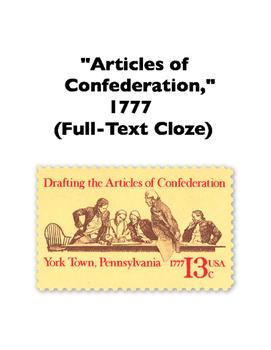 Articles of Confederation (Full-Text Cloze)