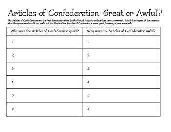 Articles of Confederation: Great? or Awful? Chart (modfied