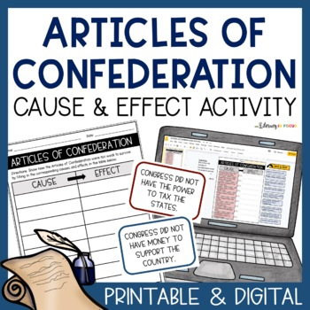 Articles of Confederation Task Cards - Cause and Effect
