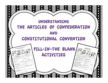 Articles of Confederation and Constitution Fill-in-the-Bla