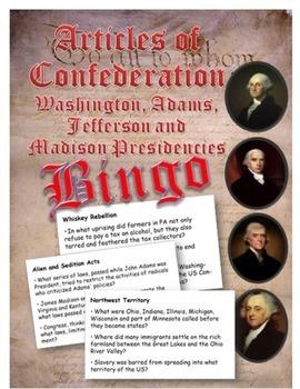 Articles of Confederation and Washington to Madison  Presi