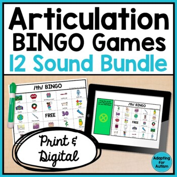Articulation BINGO Games: BUNDLE of 12 sounds (Speech Therapy)